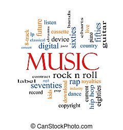 Music Word Cloud Concept with great terms such as rock n roll, rap, pop, download, lp and more.