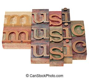 music - word in letterpress type