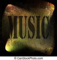 music word, old rusty wall