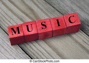 music word on wooden cubes