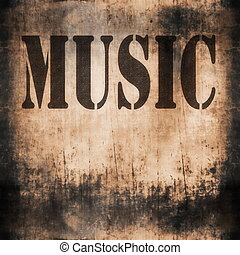 music word,  rusty wall background