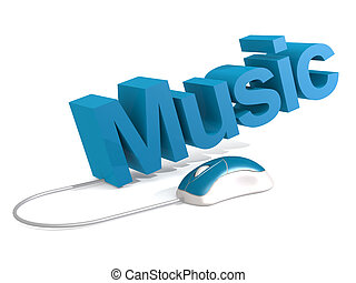 Music word with blue mouse
