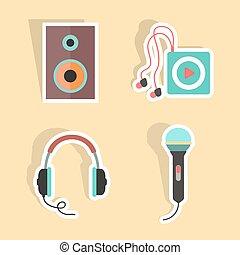 musica, adesivi, con, uggia