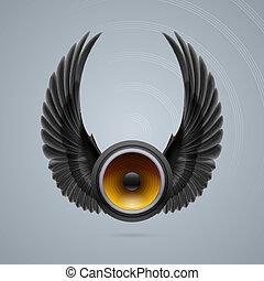 musica, altoparlante, due, ali