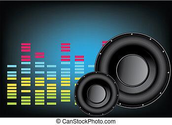 musica, altoparlante, fondo