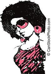 musica, arte, signora, pop, illustrazione