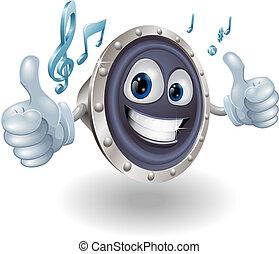 musica, audio, altoparlante, carattere