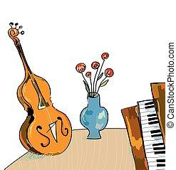 musica, bacgkround, con, violoncello, e, pianoforte