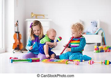 musica, bambini, bambini, strumenti