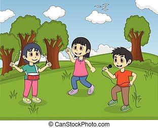 musica, bambini, parco, gioco