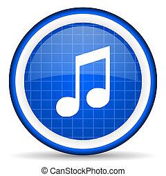 musica, blu, lucido, icona, bianco, fondo
