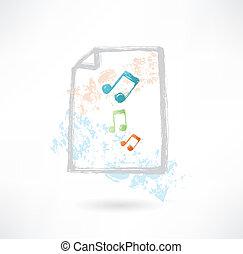 musica, carta, grunge, icona