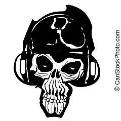 musica, cranio, icona