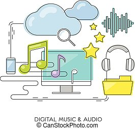 musica digitale, &, audio, concept.