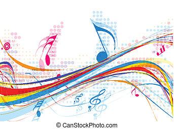 musica, disegno astratto, note
