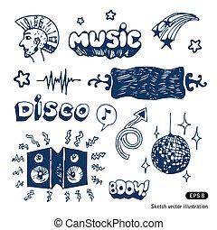 musica, elementi, set