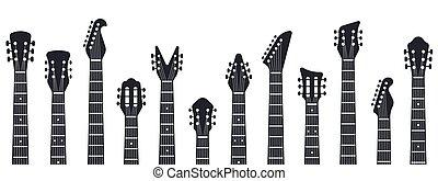 musica, elettrico, silhouette., illustrazione, chitarre, acustico, isolato, colli, chitarra, vettore, roccia, headstock.
