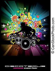 musica, evento, fondo, per, discoteque, volantini