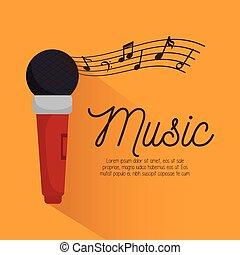 musica, festival, strumento, manifesto, microfono