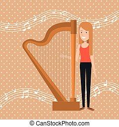 musica, festival, vivere, con, donna, gioco, arpa