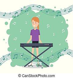 musica, festival, vivere, con, donna, pianoforte esegue