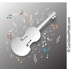 musica, fondo., carta, taglio, violino, con, note., vettore, illustration.
