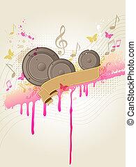 musica, fondo, con, altoparlanti