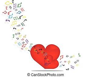 musica, fondo, con, cuore, e, note