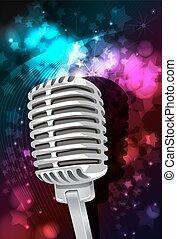 musica, fondo, con, microfono