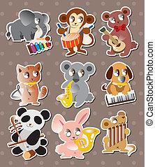 musica, gioco, adesivi, animale