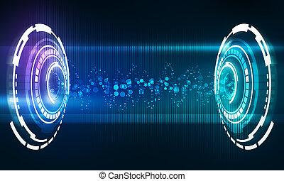 musica, interfaccia, con, flusso, onda, di, suono, energia