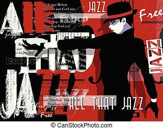 musica jazz, manifesto, fondo, template.