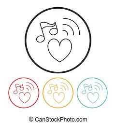 musica, linea, icona