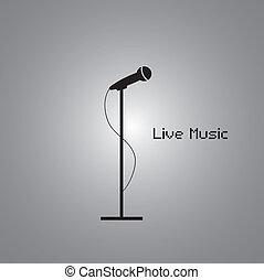 musica, manifesto, con, microfono