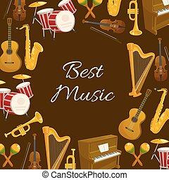 musica, manifesto, con, strumento musicale, rotondo, cornice