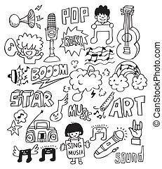 musica, mano, disegnare, elemento