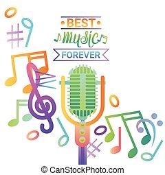 musica, microfono, bandiera, colorito, stile, moderno, musicale, concerto, manifesto