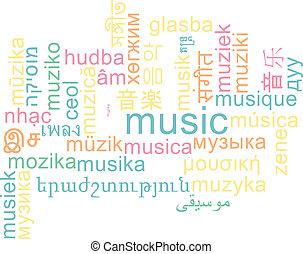 musica, multilanguage, wordcloud, fondo, concetto