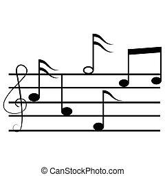 musica, note., vettore, illustration.