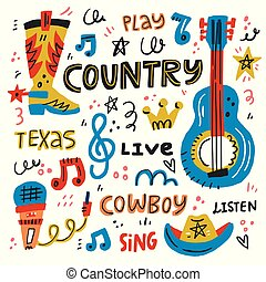 musica paese, illustrazione