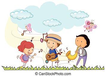 musica, parco, gioco, persone
