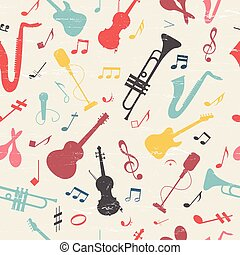 musica, pattern., seamless, colorito