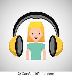 musica, ragazza, cuffie, carattere, biondo