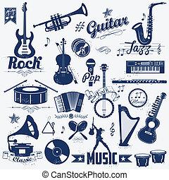 musica, retro, etichetta