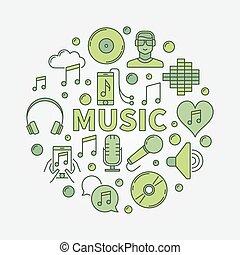 musica, rotondo, illustrazione