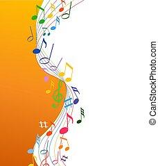 musica, sfondo bianco, solide, colorfull, note
