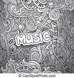 musica, sketchy, quaderno, doodles