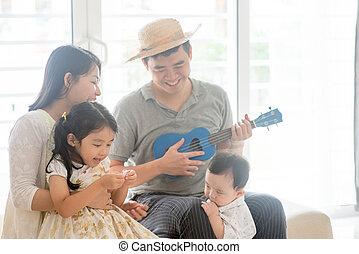 musica strumento, famiglia asiatica, gioco