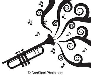 musica, tromba esegue, silhouette