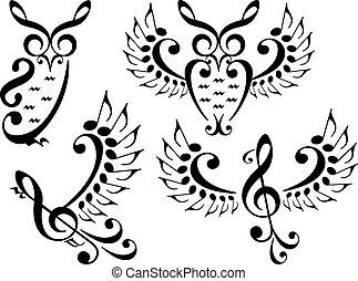 musica, uccello, e, gufo, vettore, set